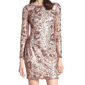 NWT L/S Copper Sequin Jessica Simpson Dress Size 8